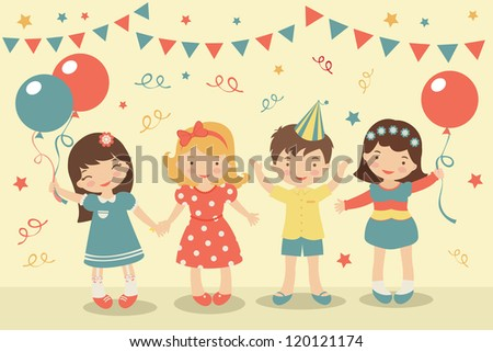 An illustration of kids party - stock vector