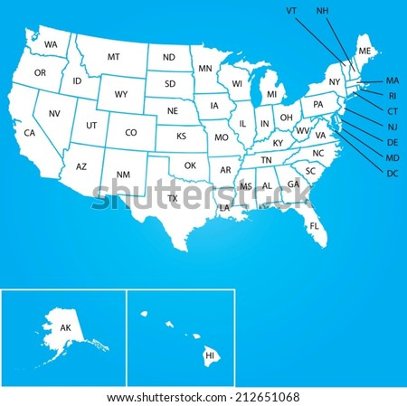An Illustration of Map of the USA with name of each states - stock vector