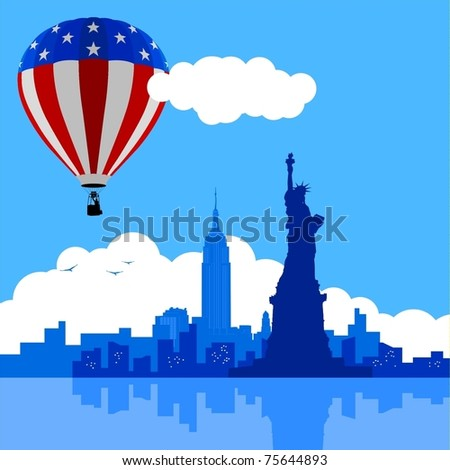An illustration of New York City skyline with USA flag air balloon - stock vector