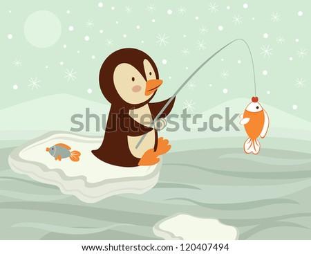 An illustration of penguin fishing - stock vector