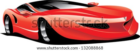an illustration of red sport car - stock vector