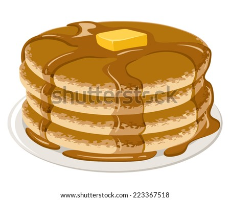 An Illustration of stack of pancakes with syrup and butter - stock vector