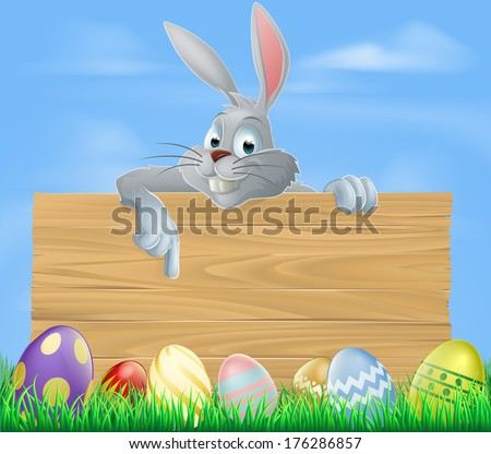 An illustration of the Easter bunny and wooden sign with Easter eggs