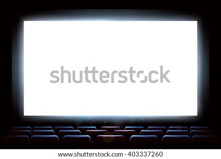 An illustration of the interior of a cinema movie theatre with copyspace on the  screen - stock vector