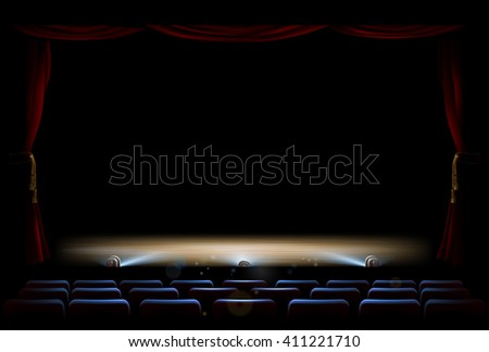 An illustration of the interior of a theatre with stage, footlights and curtains - stock vector