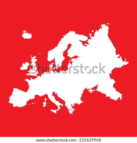 An Illustration of the outline of the continent of Europe - stock vector