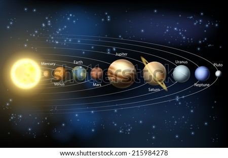 An illustration of the planets of our solar system. - stock vector