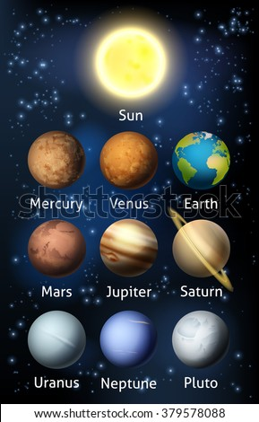 An illustration of the planets of the solar system - stock vector
