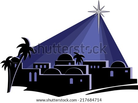 An illustration of the town of Bethlehem at night, at the time of the birth of Jesus, with a bright star shining down on the buildings on a dark blue background. - stock vector
