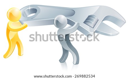 An illustration of two men with a giant spanner - stock vector