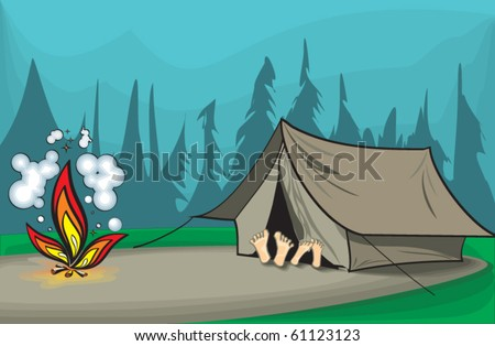 An illustration of two tourists rest in a tent - stock vector