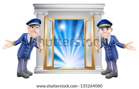 An illustration of two VIP doormen characters holding open a door at the entrance to a venue or hotel - stock vector