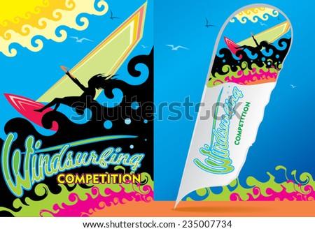 an illustration of windsurfing fun activity - stock vector