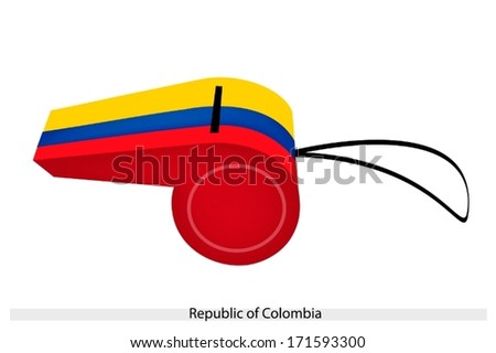 An Illustration of Yellow, Blue and Red Bands of The Republic of Colombia Flag on A Whistle, The Sport Concept and Political Symbol.