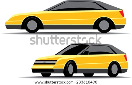 an illustration of yellow small car from side and front-to-side view - stock vector