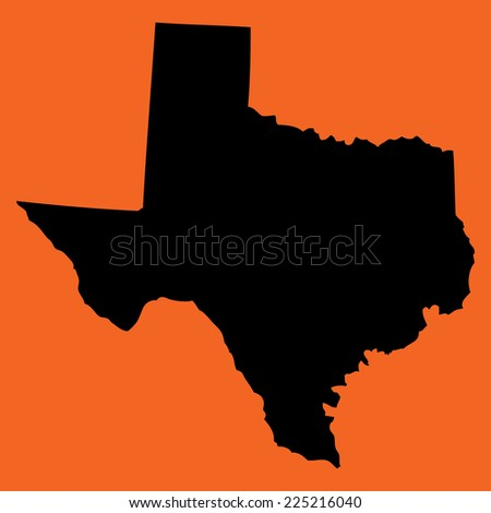An Illustration on an Orange background of Texas - stock vector