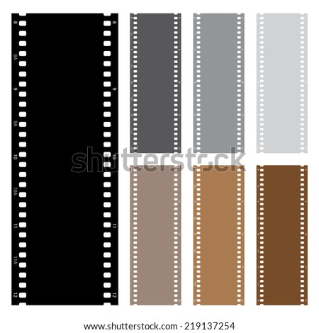 An Illustration pack of film strips isolated on white background - stock vector
