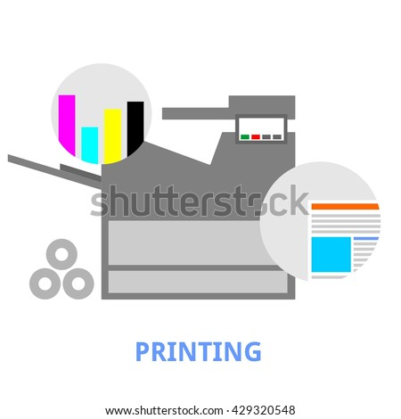 An illustration showing a printing concept - stock vector