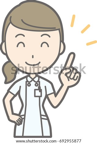 An illustration that a nurse wearing a white suit is pointing a finger with a smile
