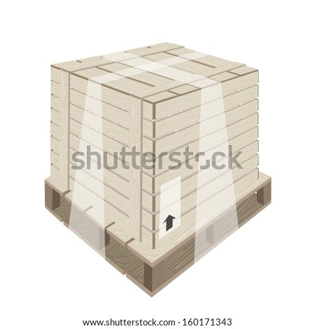 An Illustration Wooden Crate or Cargo Box Wrapped in Plastic Shrink Wrap and Steel Banding on A Wooden Pallet, Preparing for Shipment.