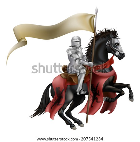 An illutration of a knight mounted on a black horse with flag - stock vector