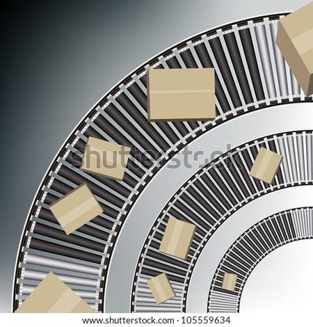 An image of a arc conveyor belt boxes. - stock vector