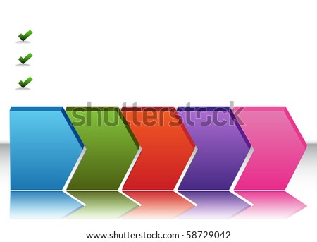 An image of a blank five stage chart. - stock vector