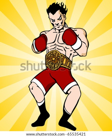 An image of a boxer with championship belt.