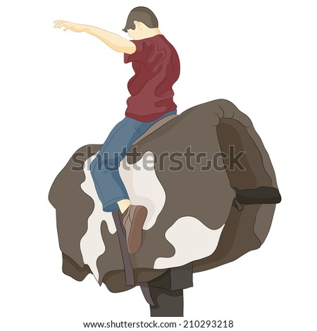 An image of a bull riding man. - stock vector