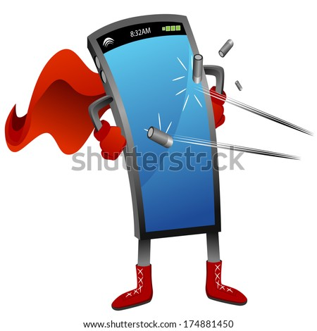 An image of a bullet proof super smartphone. - stock vector