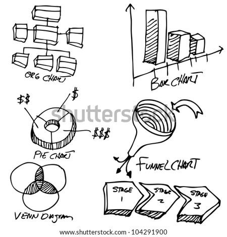 An image of a business chart object set. - stock vector
