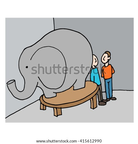 An image of a business meeting elephant in the room. - stock vector