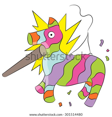 An image of a cartoon animal pinata being hit with a stick. - stock vector