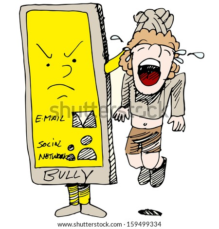An image of a child caught cyber bullying. - stock vector