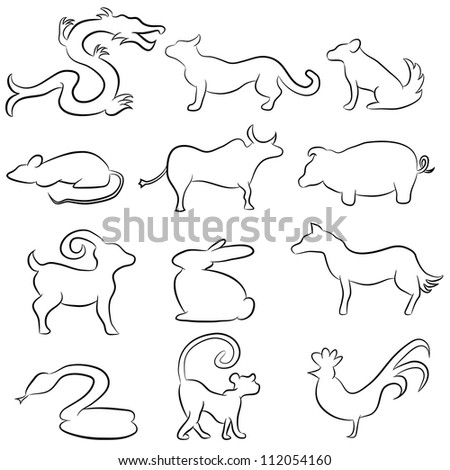 Image Chinese Astrology Animals Line Drawing Stock Illustration ...
