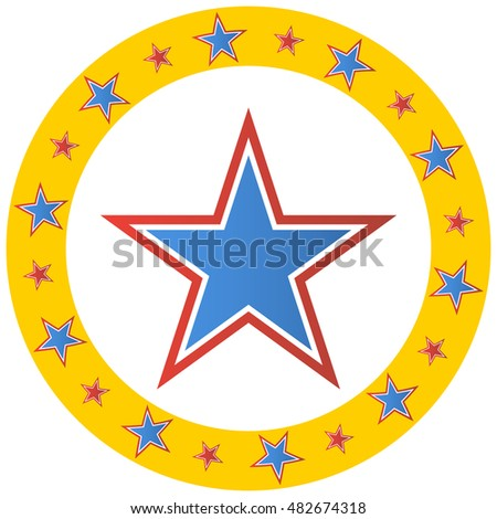 An image of a circus star circle emblem.