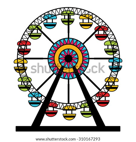 An image of a colorful ferris wheel amusement park ride.