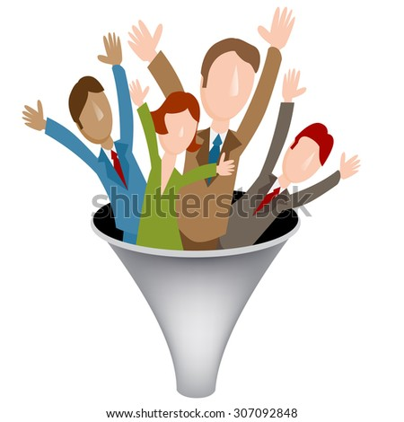 An image of a corporate merger funnel icon. - stock vector