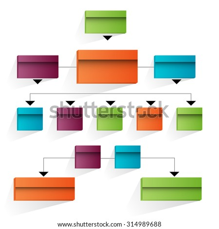 An image of a 3d corporate organizational chart. - stock vector