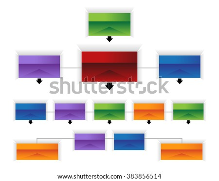An image of a 3d corporate organizational chart infographic. - stock vector