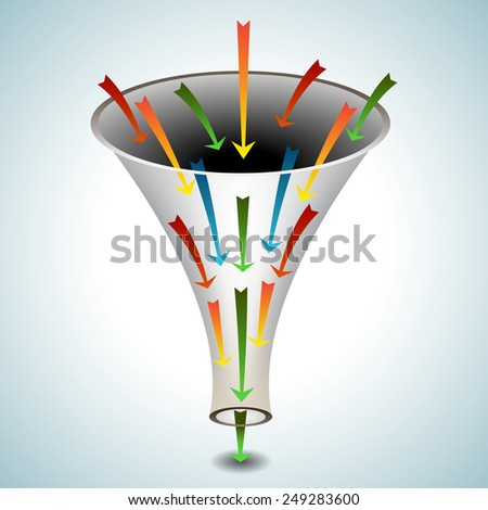 An image of a 3d funnel icon with merging arrows. - stock vector