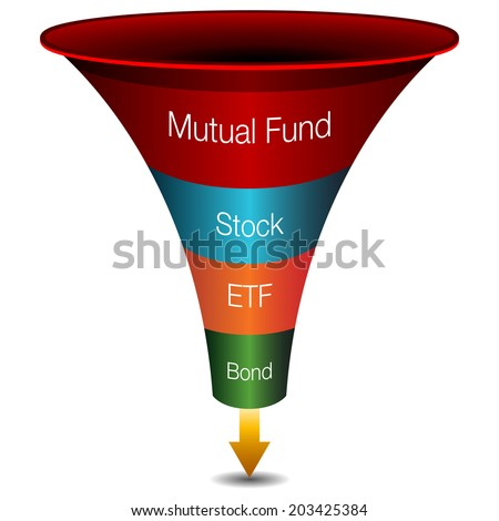 An image of a 3d investment strategies funnel chart. - stock vector