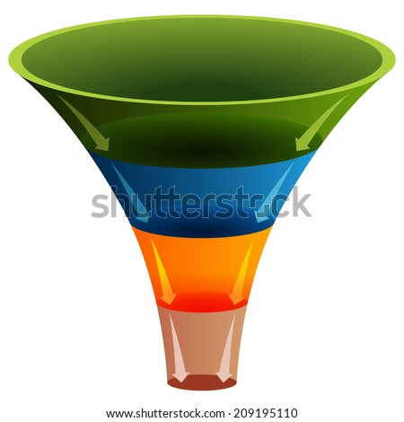 An image of a 3d layered funnel chart. - stock vector