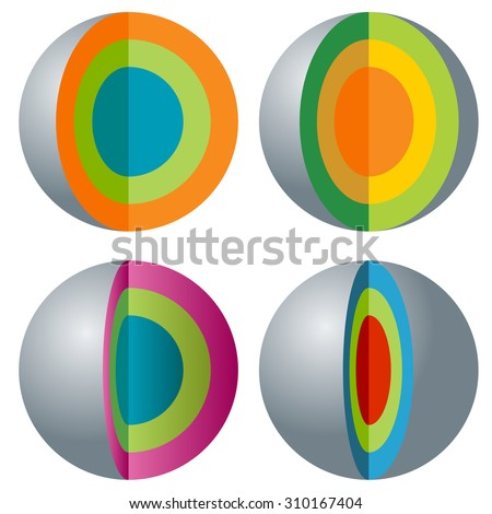 An image of a 3d layered sphere icon set. - stock vector