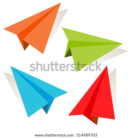 An image of a 3d paper airplane icon set.