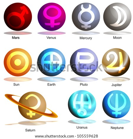 An image of a 3D planets with symbols. - stock vector