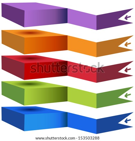 An image of a 3d stacked category chart. - stock vector