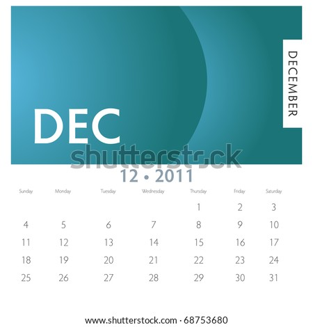 An image of a 2011 December calendar. - stock vector