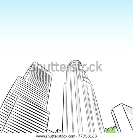 An image of a downtown los angeles financial district. - stock vector