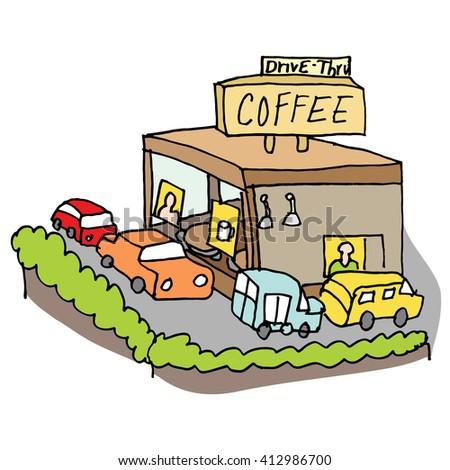 An image of a drive through coffee shop. - stock vector